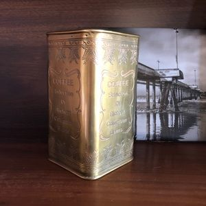 Vintage Gold Metal Coffee Tin with Round Lid